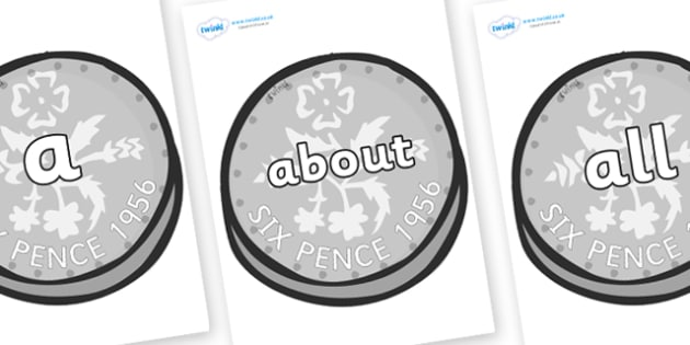 100 High Frequency Words on Sixpence - High frequency words, hfw, DfES Letters and Sounds, Letters and Sounds, display words