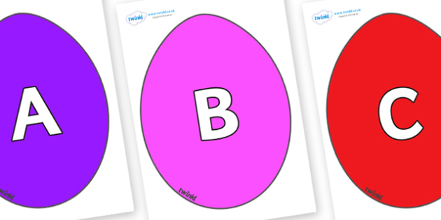 A-Z Alphabet on Easter Eggs (Coloured) - A-Z, A4, display, Alphabet frieze, Display letters, Letter posters, A-Z letters, Alphabet flashcards