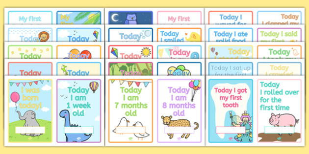 Baby Milestone Photo Prop Cards - feeding, changing, nappies, newborn