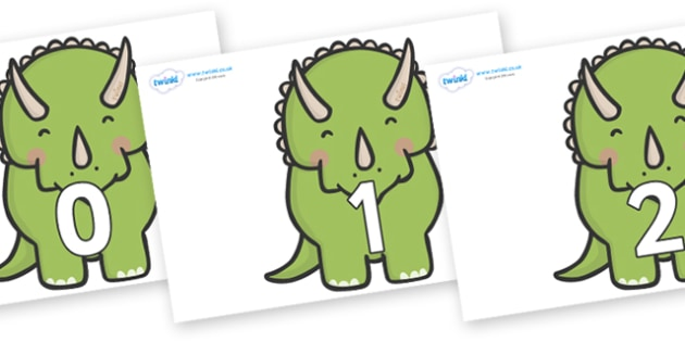 Numbers 0-31 on Triceratops Dinosaurs - 0-31, foundation stage numeracy, Number recognition, Number flashcards, counting, number frieze, Display numbers, number posters