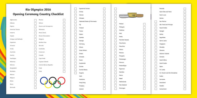 Rio Olympics Opening Ceremony Countries Checklist - rio olympics, 2016 olympics, rio 2016, opening ceremony, countries, checklist, activity