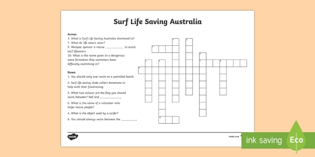 Surf Life Saving Australia Crossword - Surf Life Saving Australia, surfing, life guard, lifesaver, Australia