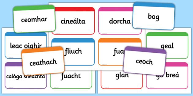 Weather Words Flashcards - roi, irish, republic of ireland, weather, words, flashcards