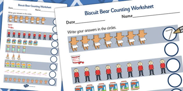 Counting Sheet to Support Teaching on Biscuit Bear - Biscuit, Bear, Count, Maths, Number