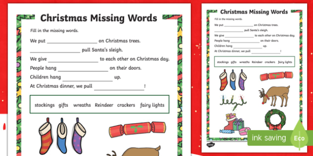 Christmas Themed Missing Words Activity