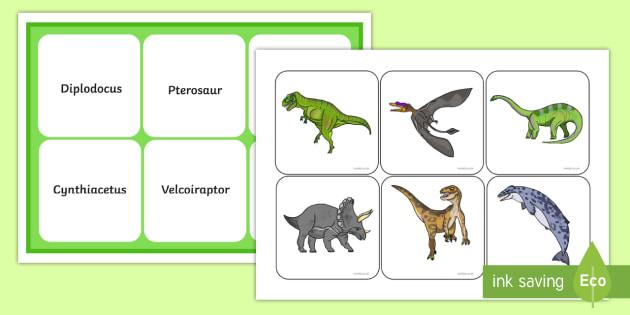 Realistic Dinosaurs Matching Mat - realistic, dinosaurs, matching, mat, match