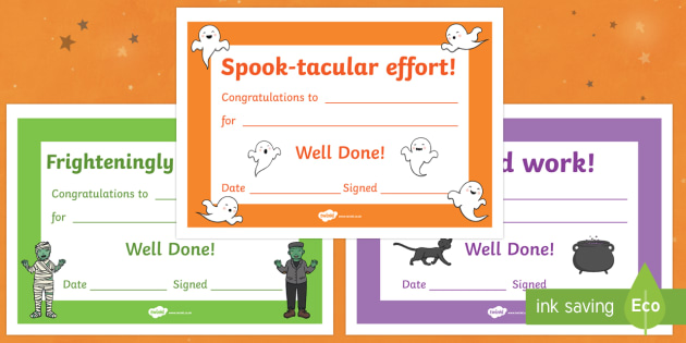 Halloween Themed Award Certificates