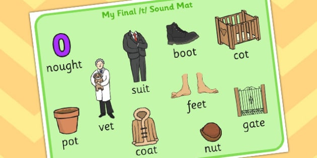 Final T Sound Mat 2 - final, t, sound, mat, sound mat, sounds