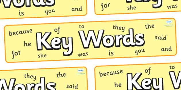 Key Words Display Banner - key words display banner, key words, words, display, banner, sign, poster, KS1, CLL, Communication language and literacy, Display, Key words, high frequency words, foundation stage literacy, DfES Letters and Sounds, Letters
