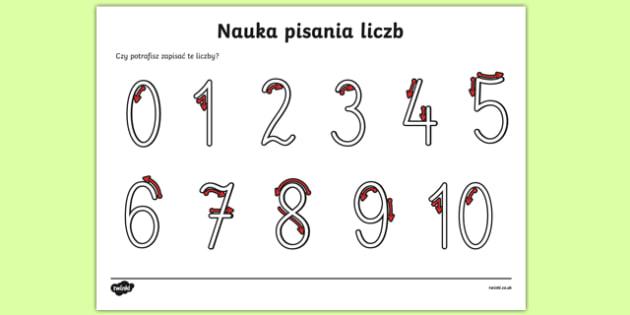 Nauka pisania cyfr od 0 do 10