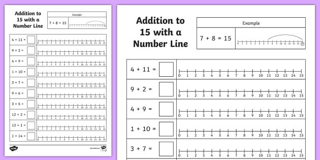 Addition to 15 With a Number Line Activity Sheet - addition, 15, number line, activity, sheet, worksheet