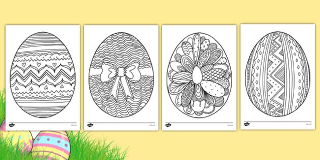 Easter Egg Mindfulness Colouring Sheets - easter egg, mindfulness, colouring sheets, colour
