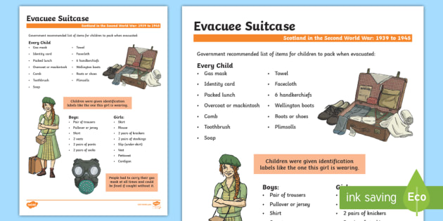 Subtraction ks2 subtraction worksheets : Scotland in the Second World War Evacuee Suitcase Fact File