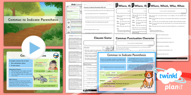 PlanIt Y5 SPaG Lesson Pack: Commas to Indicate Parenthesis - planit, year 5, spag, lesson pack, commas, indicate, parenthesis