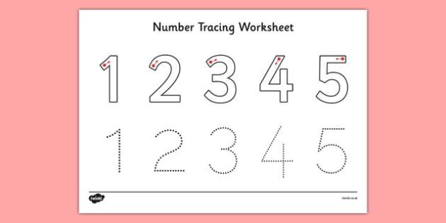 Number Tracing Worksheet 1-5 - number, tracing, worksheet, maths, formation