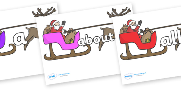 100 High Frequency Words on Sleighs - High frequency words, hfw, DfES Letters and Sounds, Letters and Sounds, display words