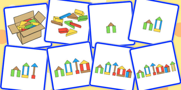 8 Step Sequencing Cards Building Blocks - sequencing, card, build
