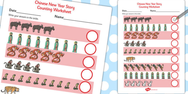 Chinese New Year Story Counting Sheet - counting, chinese, year
