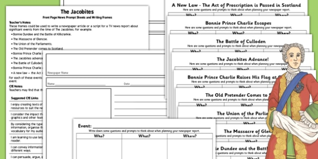 The Jacobites Front Page News Prompt Sheets and Writing Frames