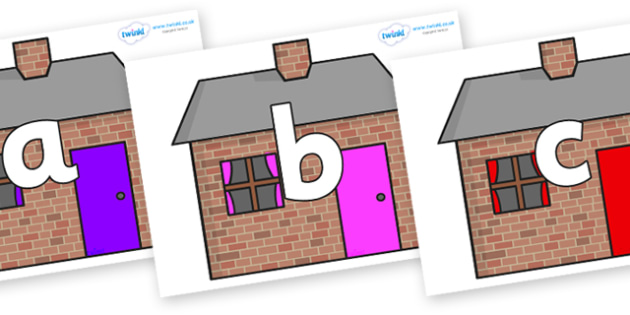 Phoneme Set on Brick houses - Phoneme set, phonemes, phoneme, Letters and Sounds, DfES, display, Phase 1, Phase 2, Phase 3, Phase 5, Foundation, Literacy
