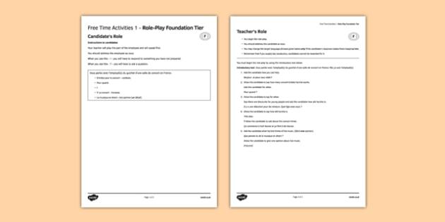 Les loisirs 1 Jeu de rôle Foundation Tier - Role Play, Foundation, Free Time
