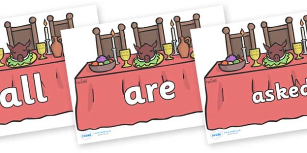 Tricky Words on Dining Tables - Tricky words, DfES Letters and Sounds, Letters and sounds, display, words