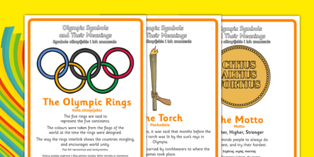 The Olympics Symbols and Their Meanings Display Posters Polish Translation - polish, symbols, Olympics, Olympic Games, sports, Olympic, London, what do olympic symbols mean, meaning, 2012, activity, Olympic torch, medal, Olympic Rings, mascots, flame