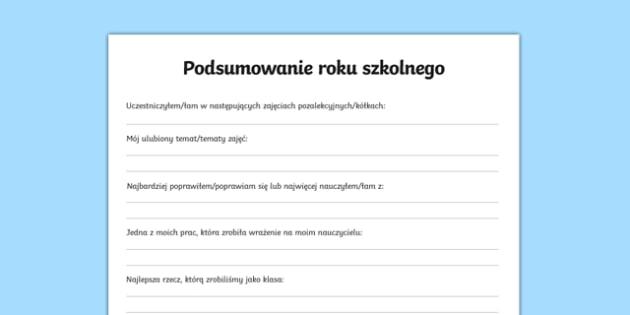 Karta Podsumowanie roku szkolnego po polsku, worksheet