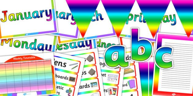 Rainbow Co-ordinating Classroom Display Pack - display, pack
