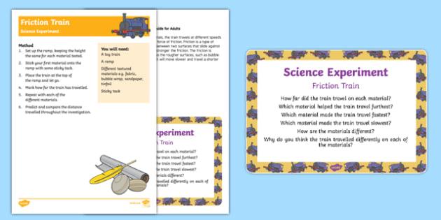 EYFS Friction Train Science Experiment and Prompt Card Pack