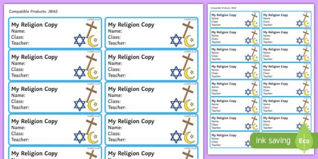 Pupil Religion Copybook Labels-Irish
