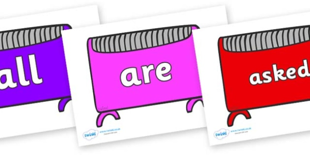 Tricky Words on Heaters - Tricky words, DfES Letters and Sounds, Letters and sounds, display, words