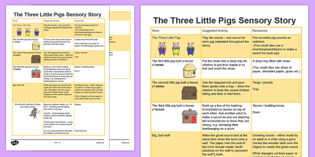 The Three Little Pigs Sensory Story - three, little, pigs, three little pigs, sensory, story, sensory story, senses, reading, listening, feeling