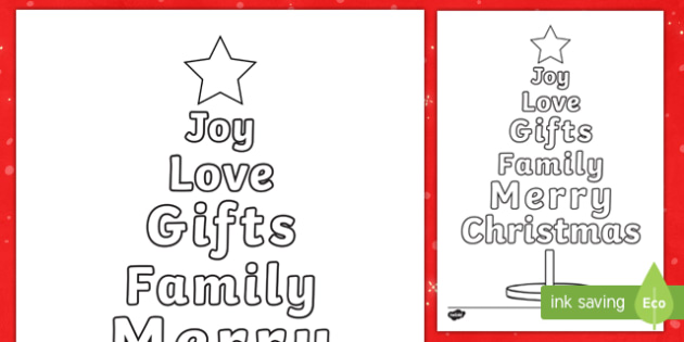 Christmas Word Tree Colouring Page-Australia