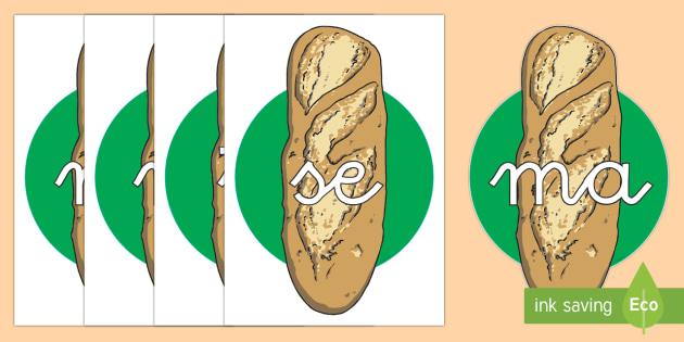 Tarjetas de sílabas: Pan  - lecto, leer, primeros sonidos, comida, Spanish