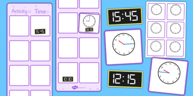 Vertical Visual Timetable Display With Clocks - vertical, visual timetable, display, clocks, time
