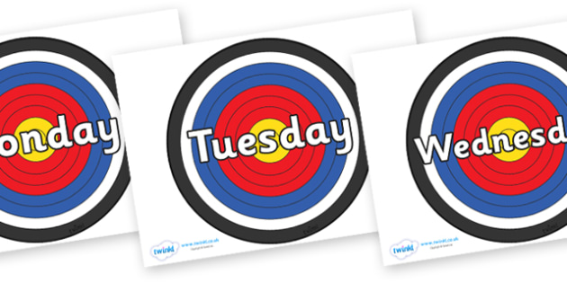 Days of the Week on Archery Targets - Days of the Week, Weeks poster, week, display, poster, frieze, Days, Day, Monday, Tuesday, Wednesday, Thursday, Friday, Saturday, Sunday