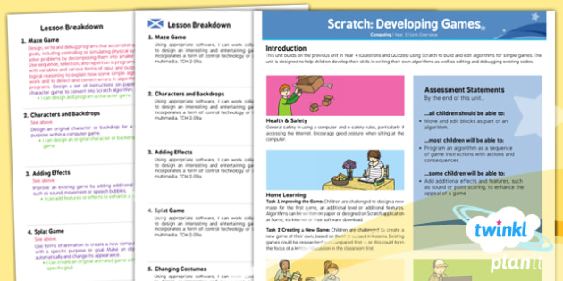 Computing: Scratch Developing Games Year 5 Planning Overview CfE