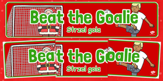 Christmas Themed Beat the Goalie Banner Polish Translation - polish, christmas, themed, beat the goalie, banner, display