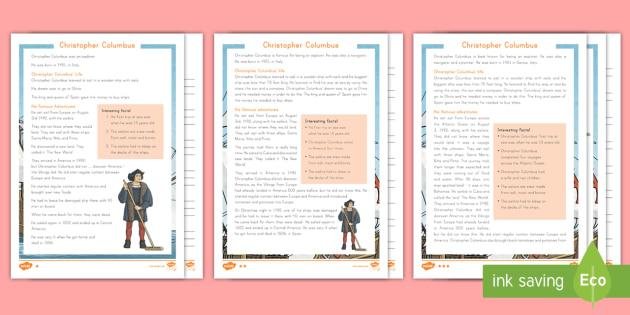 Christopher Columbus Differentiated Reading Comprehension Activity - Christopher Columbus, Columbus, Explorers, america, Columbus day