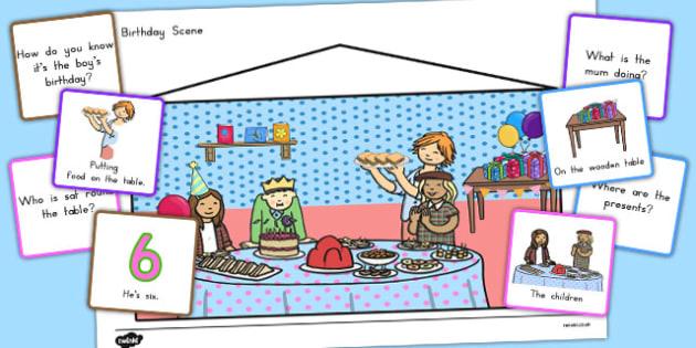 Picture Scenes and 'Wh' Questions Birthday Scene - australia, picture