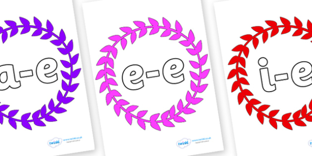 Modifying E Letters on Wreaths - Modifying E, letters, modify, Phase 5, Phase five, alternative spellings for phonemes, DfES letters and Sounds