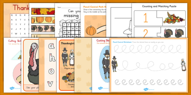 Thanksgiving Kindergarten Teaching Pack - thanksgiving, pack, worksheet for kindergarden
