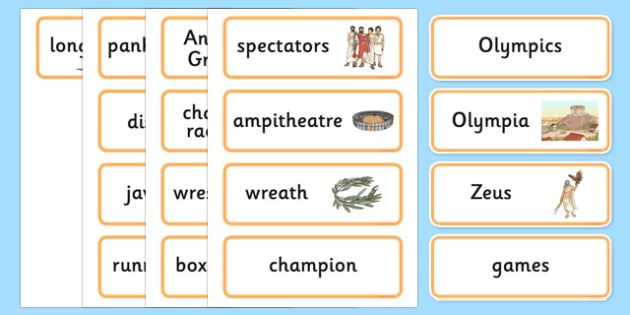 Ancient Olympics Word Cards - ancient olympics, word cards, word, cards, olympics, ancient greeks