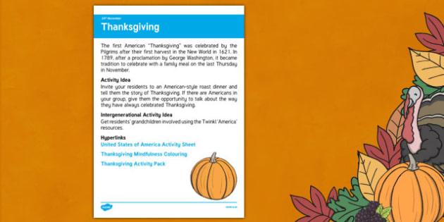 Elderly Care Planning November 2016 American Thanksgiving - Elderly Care, Calendar Planning, Care Homes, Activity Co-ordinators, Support, November 2016