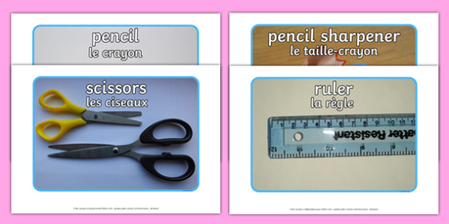 FR T C 1543 School Objects Photo Pack English French Other-French-translation