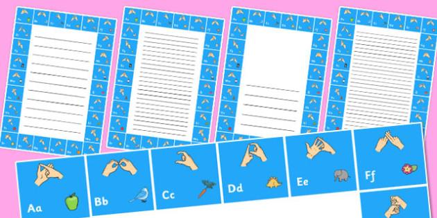 British Sign Language Alphabet Writing Frame - writing frame