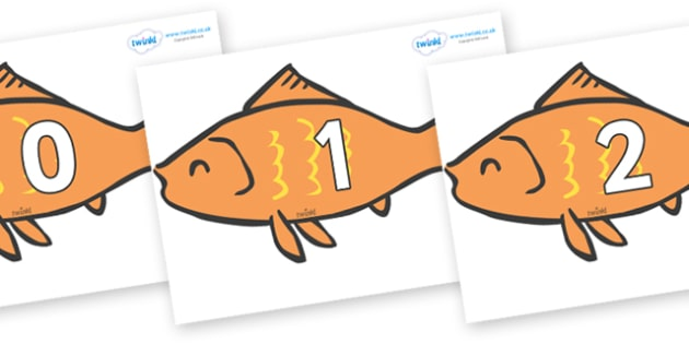 Numbers 0-50 on Goldfish - 0-50, foundation stage numeracy, Number recognition, Number flashcards, counting, number frieze, Display numbers, number posters