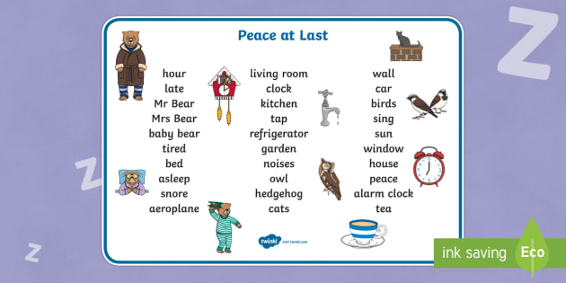 Peace at Last Word Mat (Text) - Peace at Last, resources,  Jill Murphy, Large family, Mr Bear, Mrs Bear, Baby Bear, sleep, story, story book, story book resources, story sequencing, story resources, word mat, writing aid