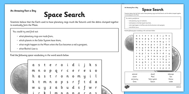 Space Search Amazing Fact Activity Sheet - space, wordsearch, words, worksheet